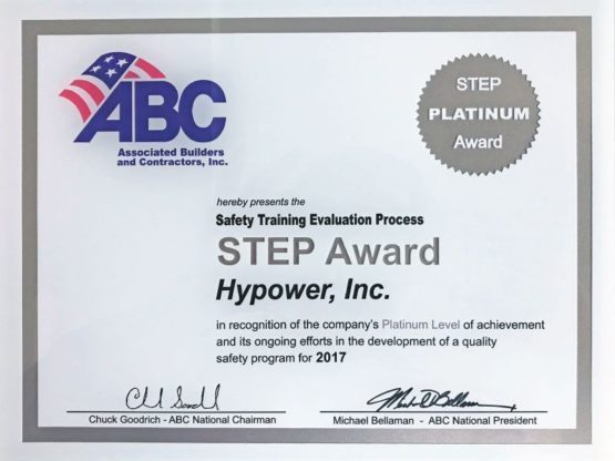 Hypower Awarded ABC STEP Platinum Award 2017 for Safety Training