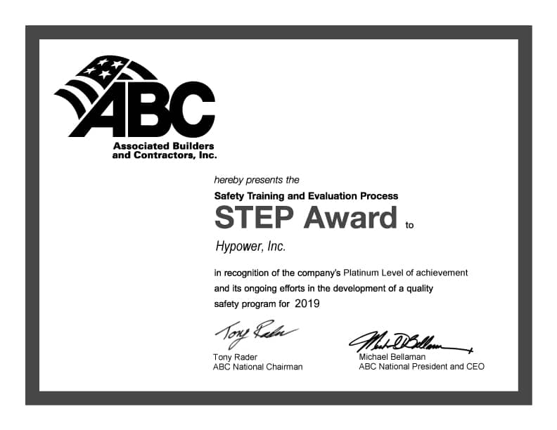 Hypower Awarded ABC STEP Platinum Award 2019 for Safety Training